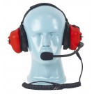 PTT on Dual Muff Headset - Noise Cancelling Boom Mic - Red (HS4R)