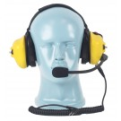 PTT on Dual Muff Headset - Noise Cancelling Boom Mic - Yellow (HS4Y)
