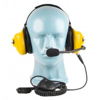 PTT on Cable -  Dual Muff Headset - Noise Cancelling Boom Mic - Yellow (HS5Y)