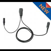 1 Wire 3.5mm Female,  Braided Fiber Cloth PTT/Mic. wiring from bottom of PTT (3.5F+1WB)