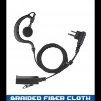 2 Wire Ear Hook, Braided Fiber Cloth, w/ PTT Noise Cancelling Mic. (EH+2W)