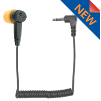 Braided Fiber Cloth Receive Only High-Def Knowles  Speaker  2 pole angled connector  Includes both L & R (clear) Gel ear inserts (HDIEF-ROC30)