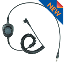 Detachable Coil Cable w/inline PTT w/removable Rings for HS1, HS3, HS5, New HS7 & HS9 Headsets (HS-PTTCAB)