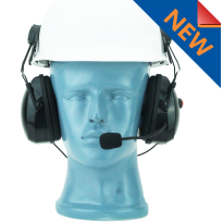Hard Hat dual muff Heavy Duty headset with flex noise cancelling boom MIC - David Clark Pinout (HS2-DC)