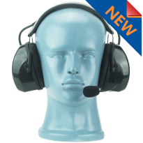 Lightweight Flex Over the Head Headset - Black - dual muff with noise cancelling boom MIC (HS3)