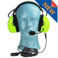 Lightweight Flex Over the Head Headset - Green - dual muff with noise cancelling boom MIC (HS3G)