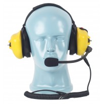 PTT on Dual Muff Headset - Noise Cancelling Boom Mic - Yellow - David Clark Pinout (HS4Y-DC)