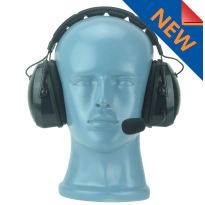 Padded over the head dual muff lightweight headset with flex noise cancelling boom mic (HS9)