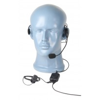 Ultra-Lite behind the head Single Muff headset with boom MIC and inline PTT w/2.5 FPTT Jack  (HSBF)