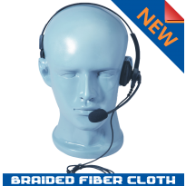 Braided Fiber Lightweight Single Muff adjustable Headset with boom MIC and inline PTT (HSS+)