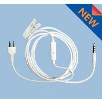 SnapLock White Base Braided Fiber Cloth inline Mic. 3.5 Full Duplex (SL+1WWMIC-3.5)